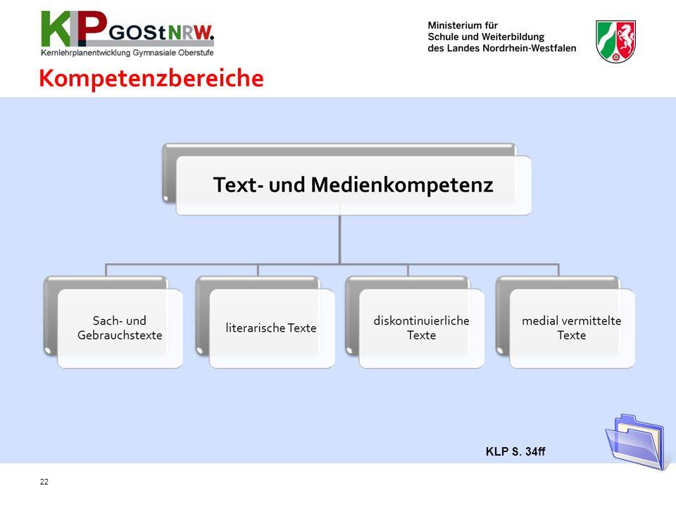 Kompetenzbereiche KLP S. 34ff 22