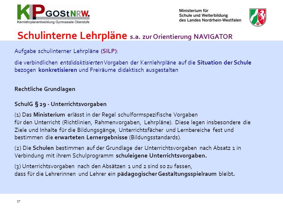 Schulinterne Lehrpläne s.a. zur Orientierung NAVIGATOR