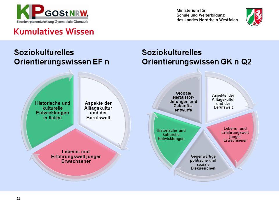 Kumulatives Wissen Soziokulturelles Orientierungswissen EF n