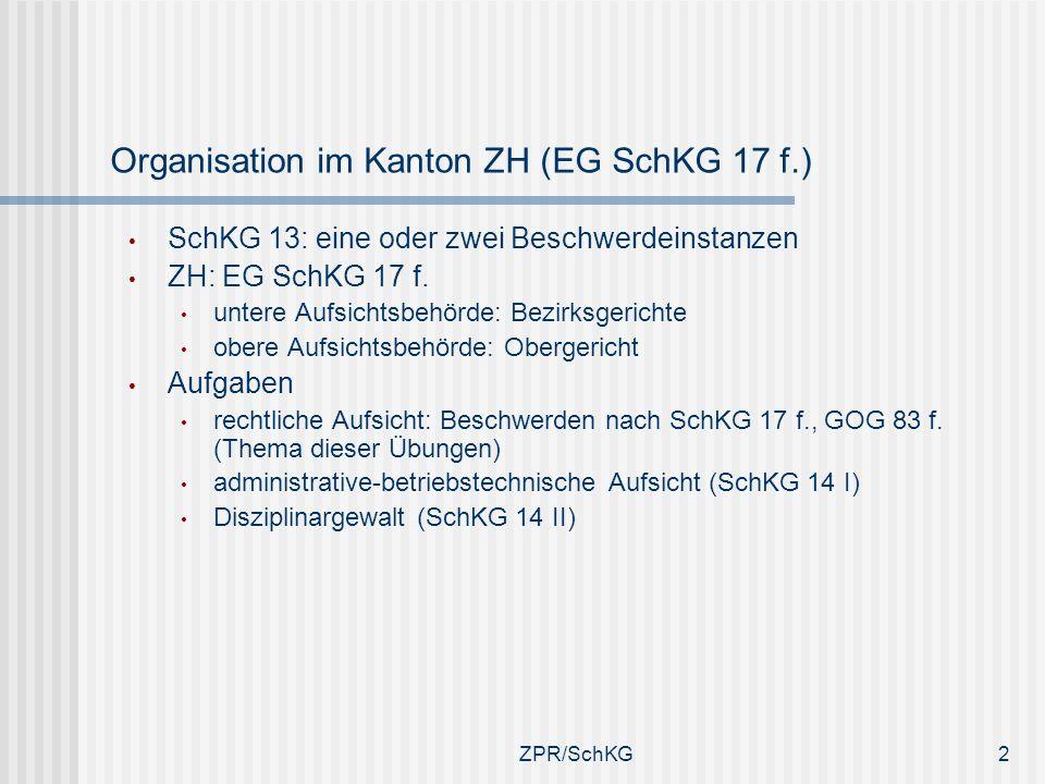 Organisation im Kanton ZH (EG SchKG 17 f.)