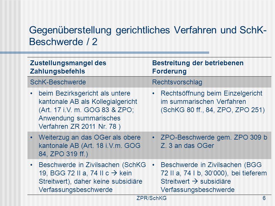 Gegenüberstellung gerichtliches Verfahren und SchK-Beschwerde / 2