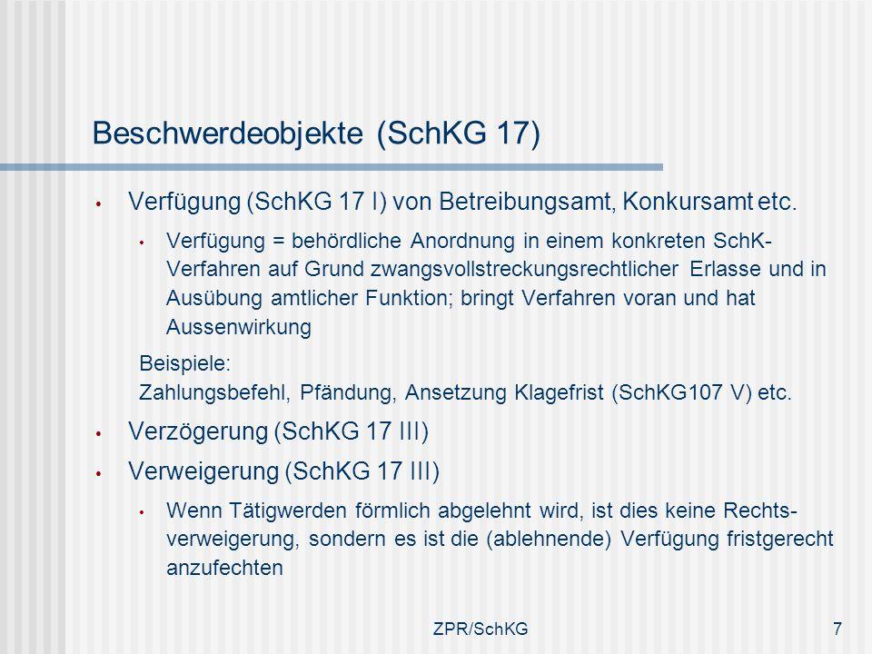 Beschwerdeobjekte (SchKG 17)