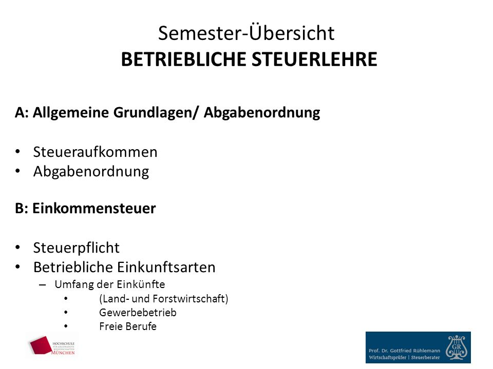 Semester-Übersicht BETRIEBLICHE STEUERLEHRE