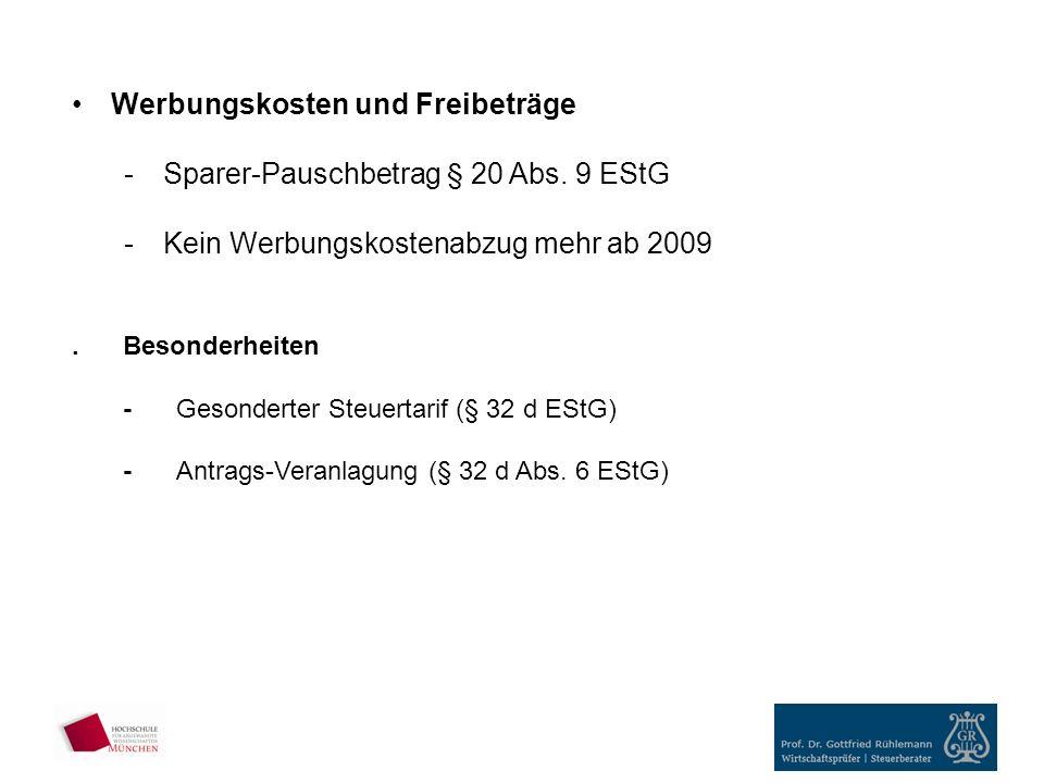 Werbungskosten und Freibeträge Sparer-Pauschbetrag § 20 Abs. 9 EStG