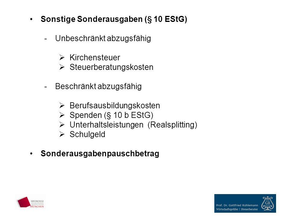 Sonstige Sonderausgaben (§ 10 EStG)