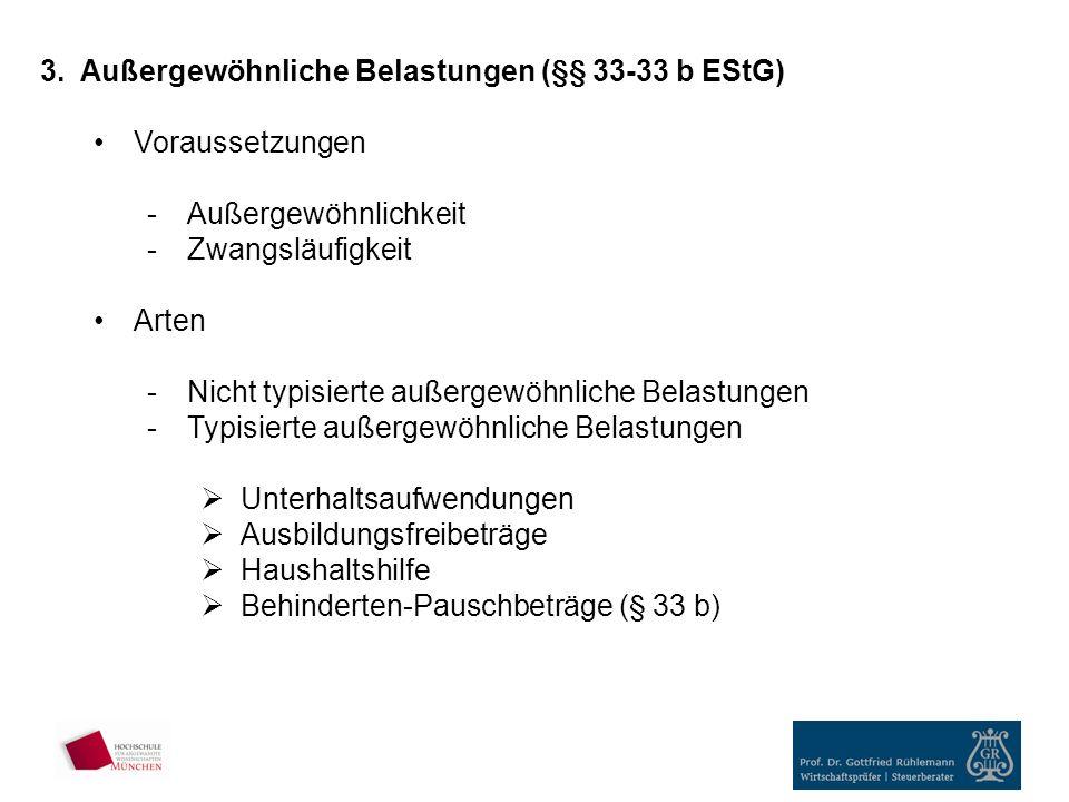 Außergewöhnliche Belastungen (§§ 33-33 b EStG)