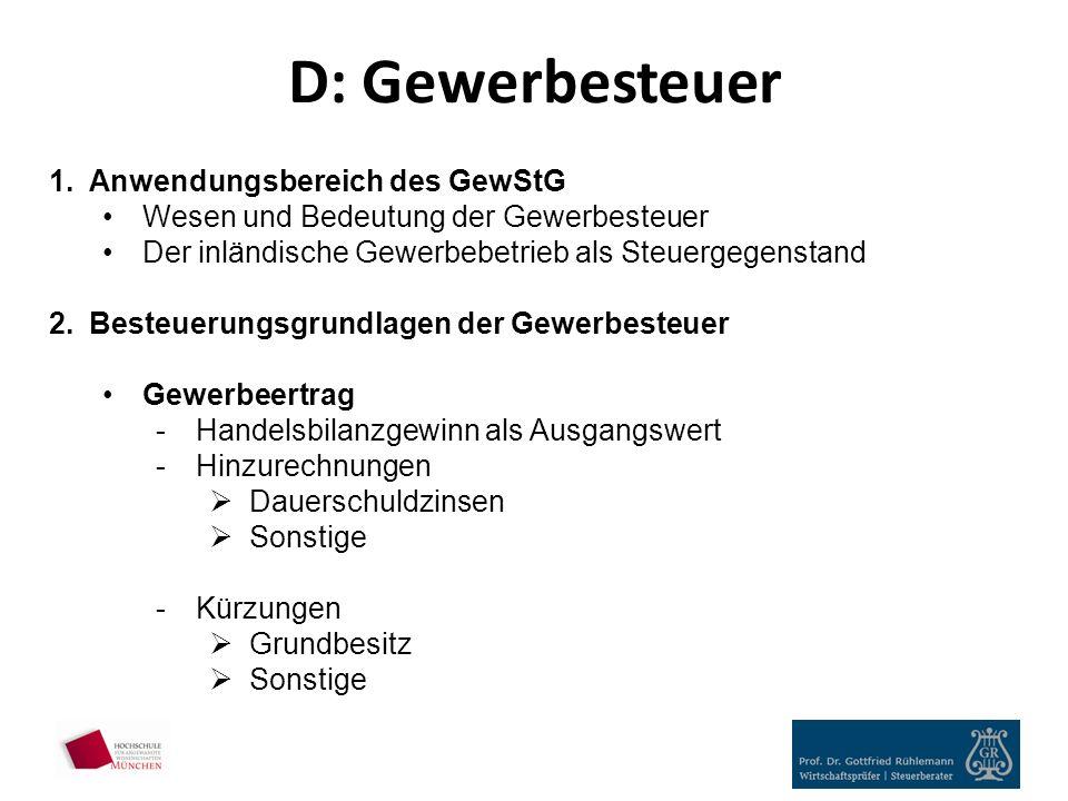 D: Gewerbesteuer Anwendungsbereich des GewStG