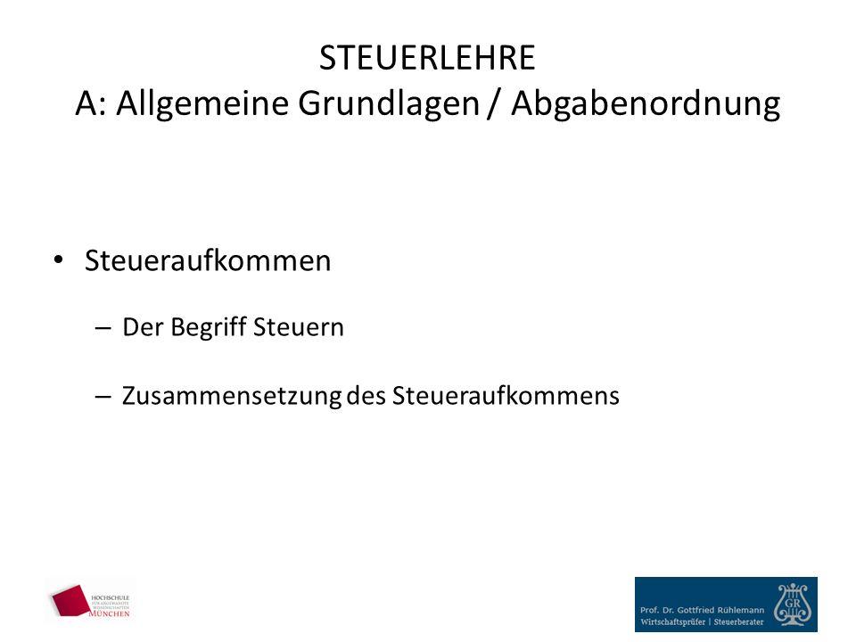 STEUERLEHRE A: Allgemeine Grundlagen / Abgabenordnung