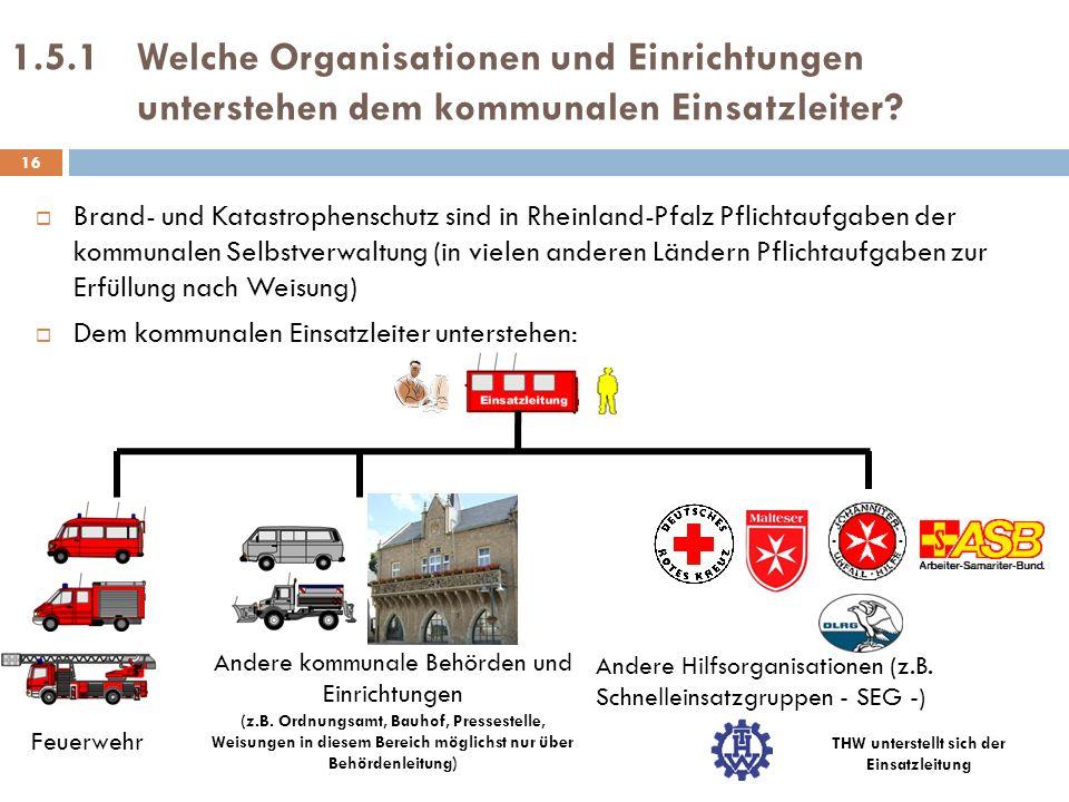 1.5.1 Welche Organisationen und Einrichtungen unterstehen dem kommunalen Einsatzleiter