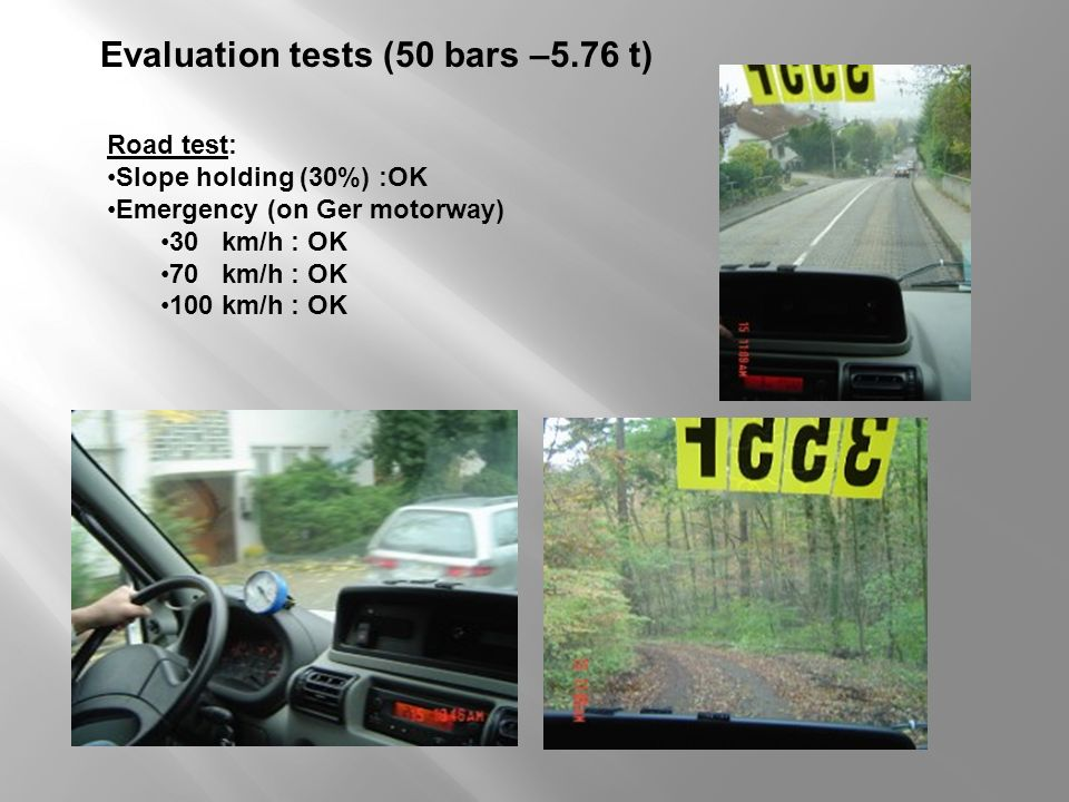 Evaluation tests (50 bars –5.76 t)