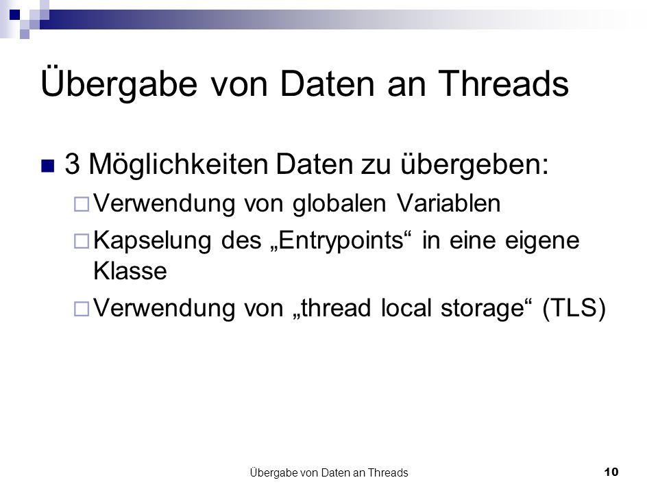 Übergabe von Daten an Threads