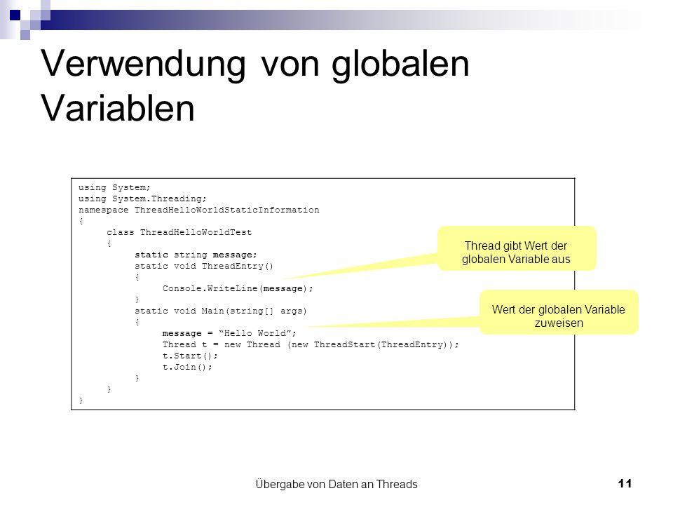Verwendung von globalen Variablen