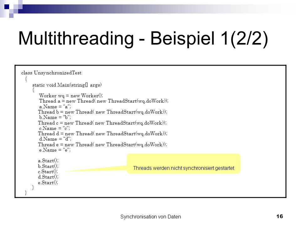 Multithreading - Beispiel 1(2/2)