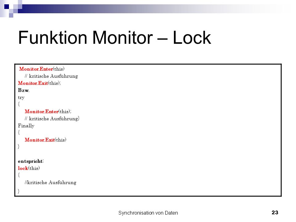 Funktion Monitor – Lock