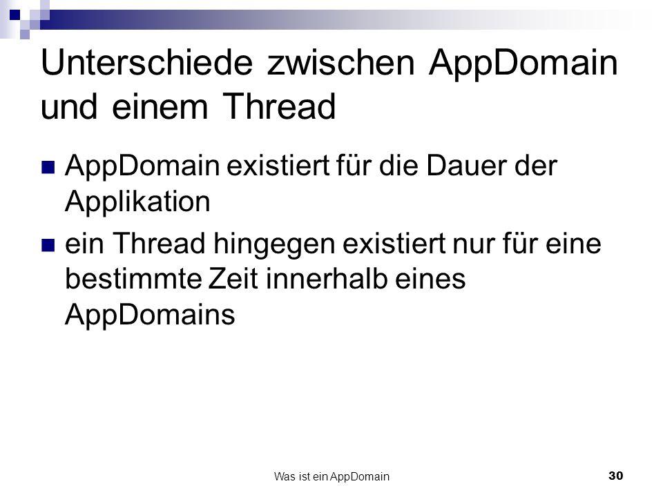 Unterschiede zwischen AppDomain und einem Thread