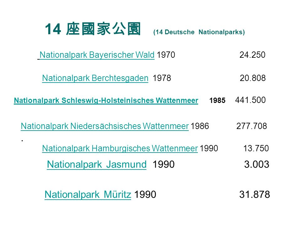 14 座國家公園 (14 Deutsche Nationalparks)