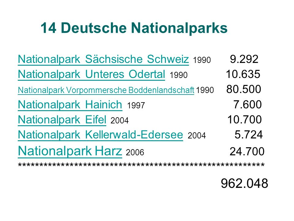 14 Deutsche Nationalparks