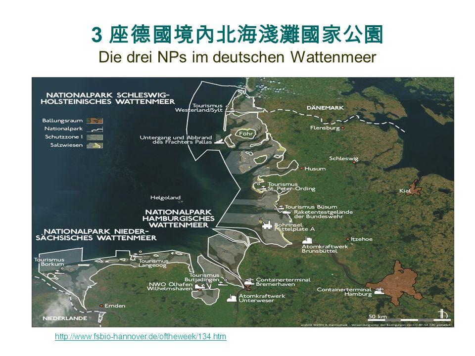 3 座德國境內北海淺灘國家公園 Die drei NPs im deutschen Wattenmeer