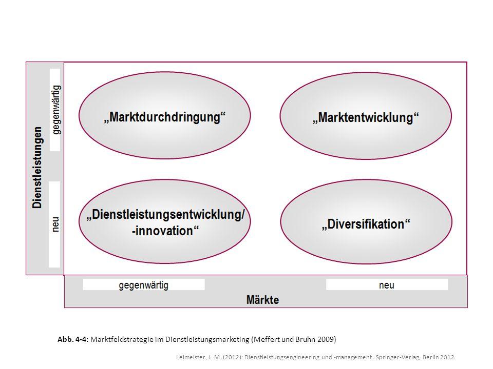Abb. 4-4: Marktfeldstrategie im Dienstleistungsmarketing (Meffert und Bruhn 2009)