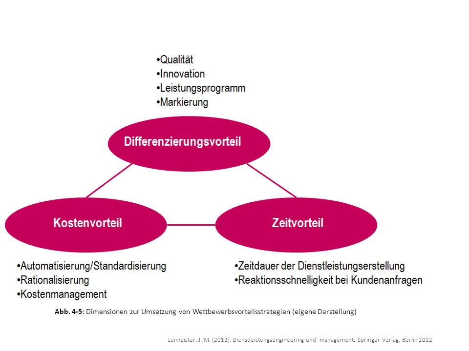 Abb. 4-5: Dimensionen zur Umsetzung von Wettbewerbsvorteilsstrategien (eigene Darstellung)
