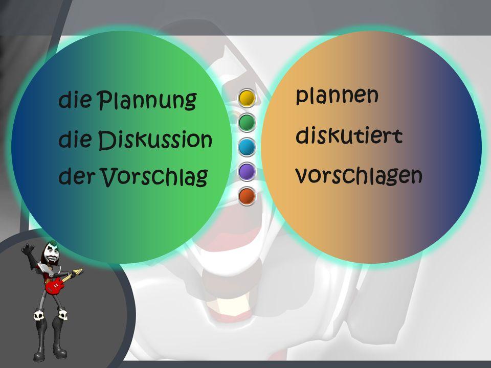 plannen die Plannung diskutiert die Diskussion der Vorschlag vorschlagen