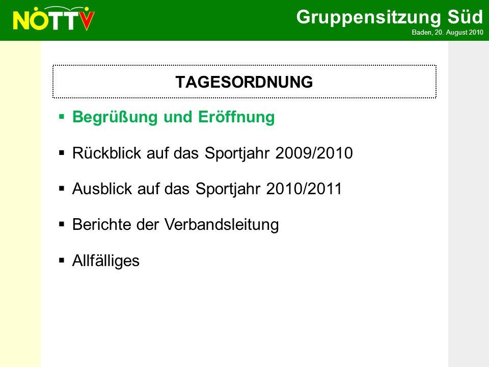 TAGESORDNUNG Begrüßung und Eröffnung. Rückblick auf das Sportjahr 2009/2010. Ausblick auf das Sportjahr 2010/2011.