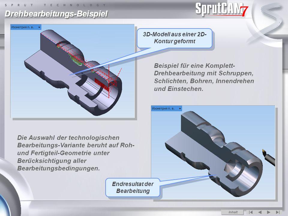 3D-Modell aus einer 2D-Kontur geformt Endresultat der Bearbeitung