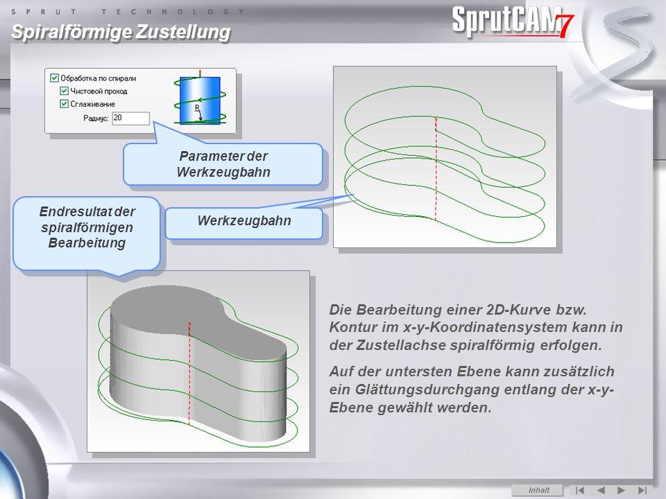 Parameter der Werkzeugbahn Endresultat der spiralförmigen Bearbeitung