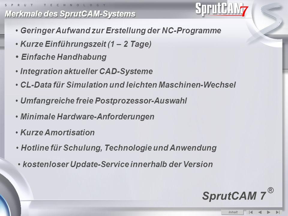 SprutCAM 7 Einfache Handhabung Merkmale des SprutCAM-Systems