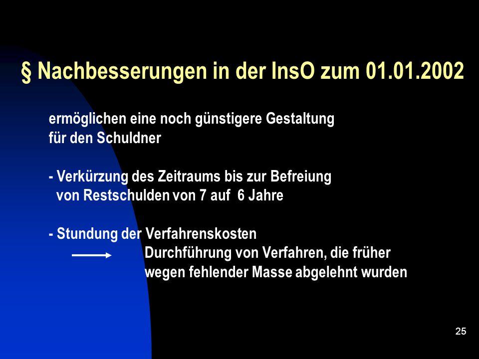 § Nachbesserungen in der InsO zum 01.01.2002