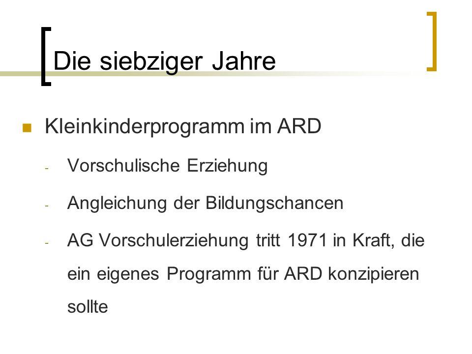 Die siebziger Jahre Kleinkinderprogramm im ARD Vorschulische Erziehung