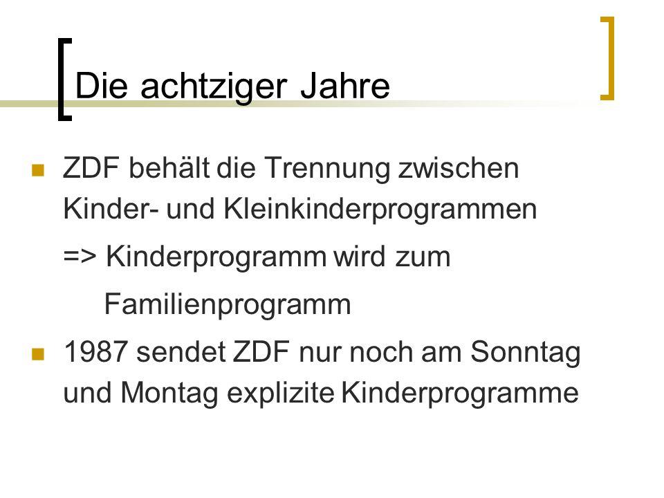 Die achtziger Jahre ZDF behält die Trennung zwischen Kinder- und Kleinkinderprogrammen. => Kinderprogramm wird zum.