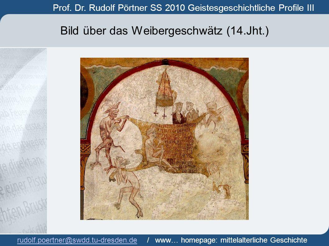 Bild über das Weibergeschwätz (14.Jht.)