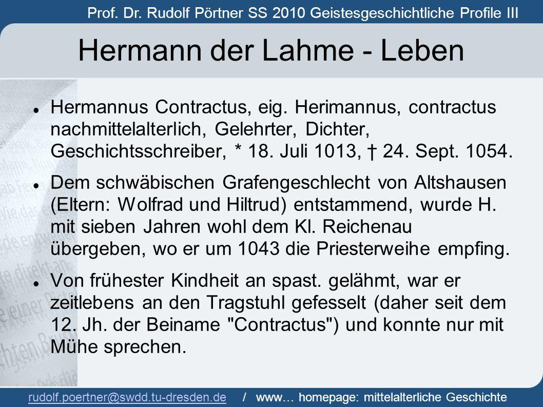 Hermann der Lahme - Leben