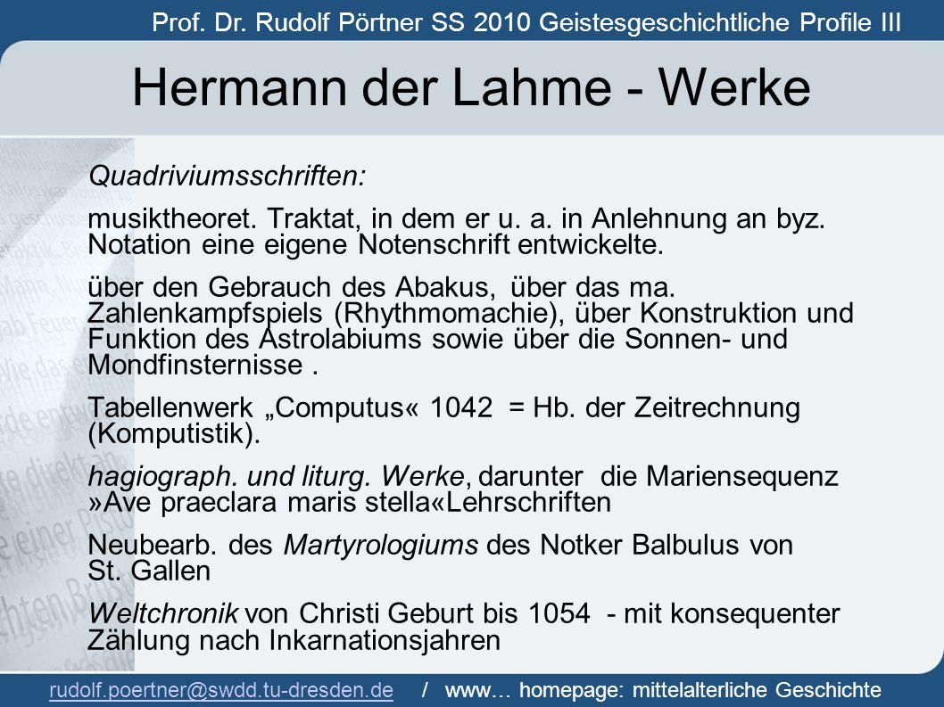 Hermann der Lahme - Werke