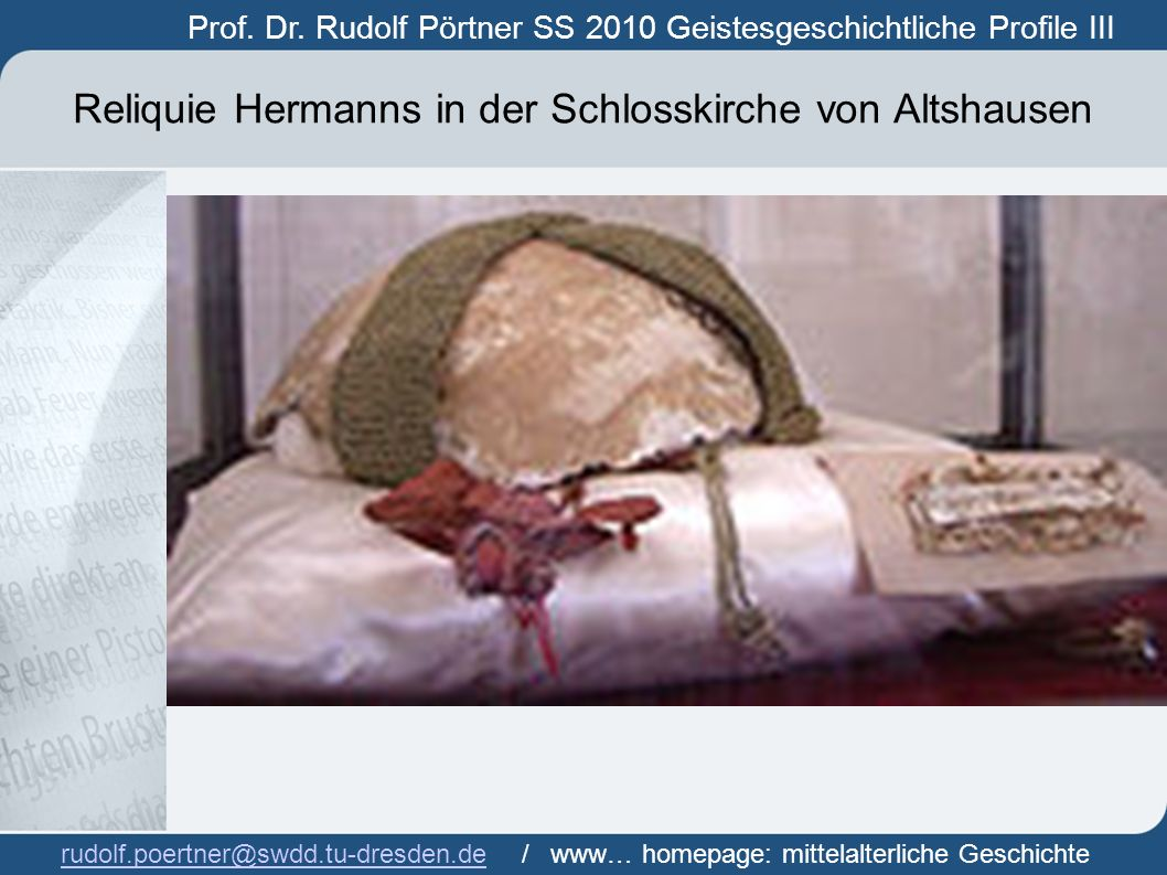 Reliquie Hermanns in der Schlosskirche von Altshausen