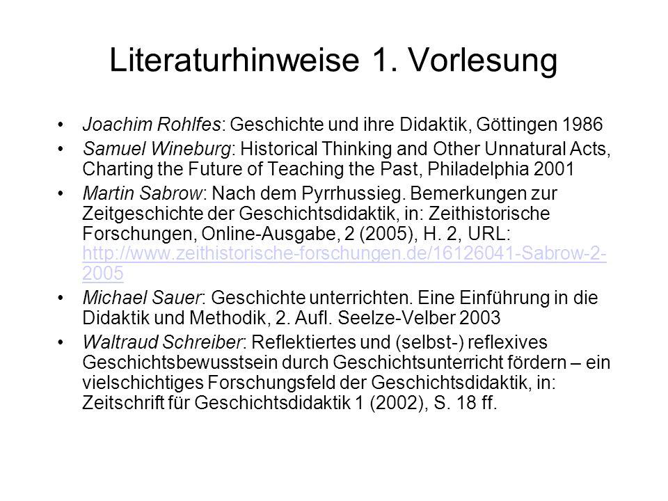 Literaturhinweise 1. Vorlesung