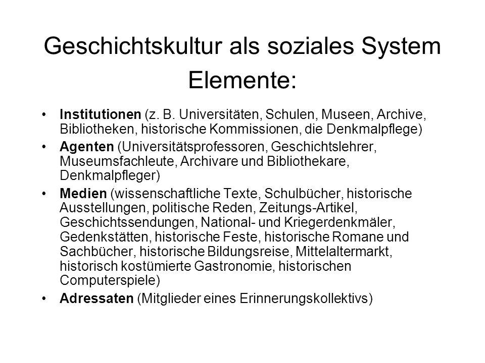 Geschichtskultur als soziales System Elemente: