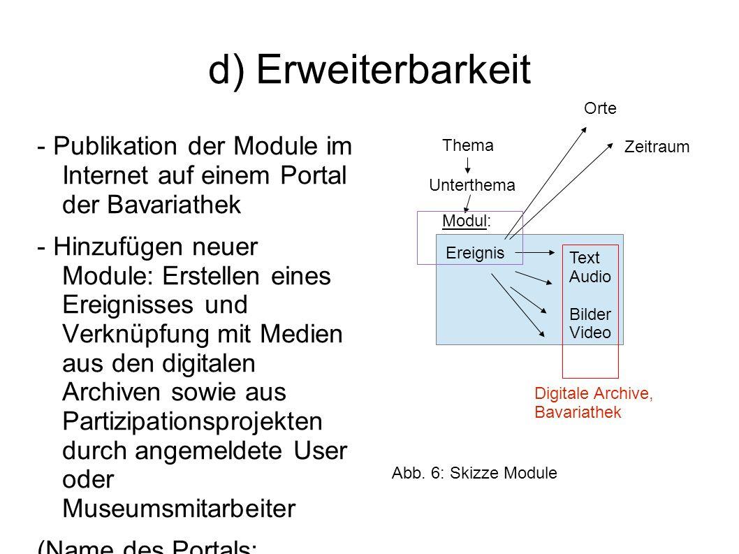 d) Erweiterbarkeit Orte. - Publikation der Module im Internet auf einem Portal der Bavariathek.