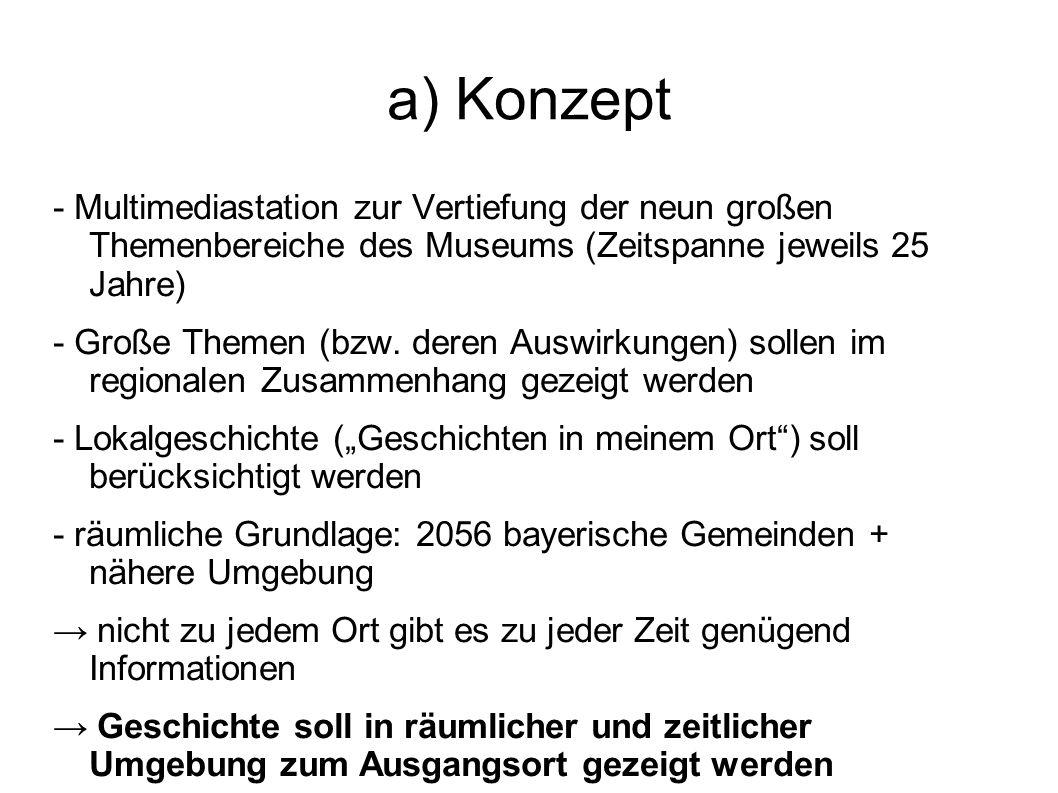 a) Konzept - Multimediastation zur Vertiefung der neun großen Themenbereiche des Museums (Zeitspanne jeweils 25 Jahre)