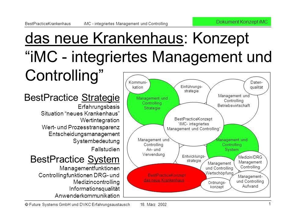 das neue Krankenhaus: Konzept iMC - integriertes Management und Controlling