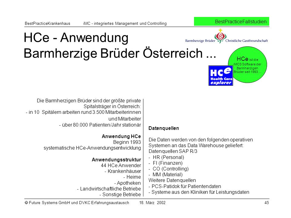 HCe ist die iMCS Software der Barmherzigen Brüder seit 1993 ...