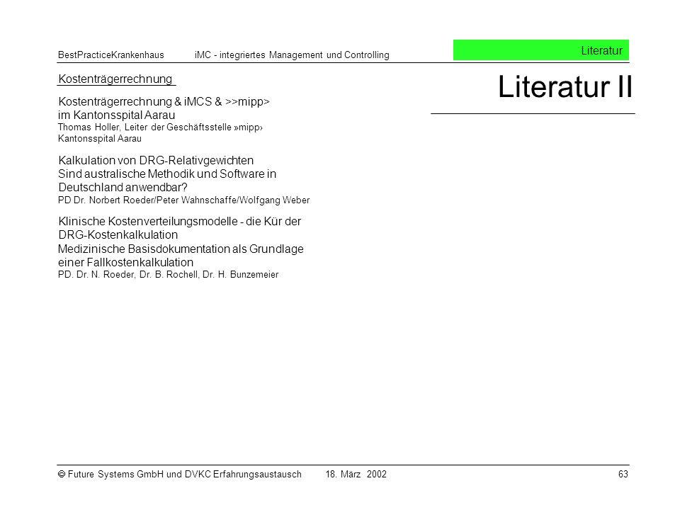 Literatur II Literatur Kostenträgerrechnung