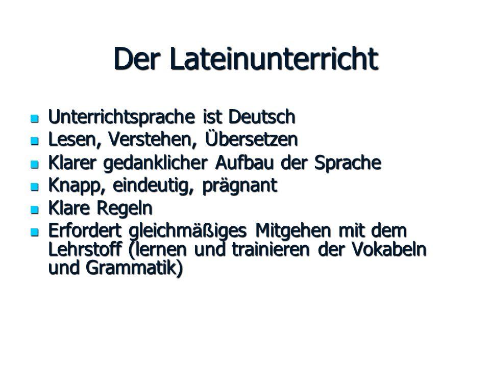 Der Lateinunterricht Unterrichtsprache ist Deutsch