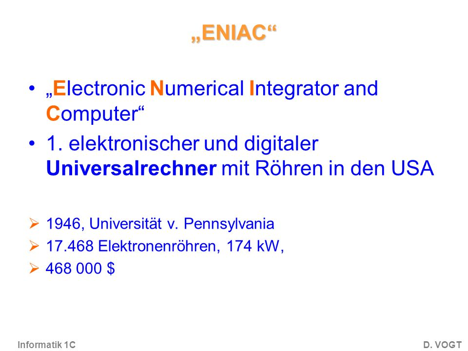 """Electronic Numerical Integrator and Computer"
