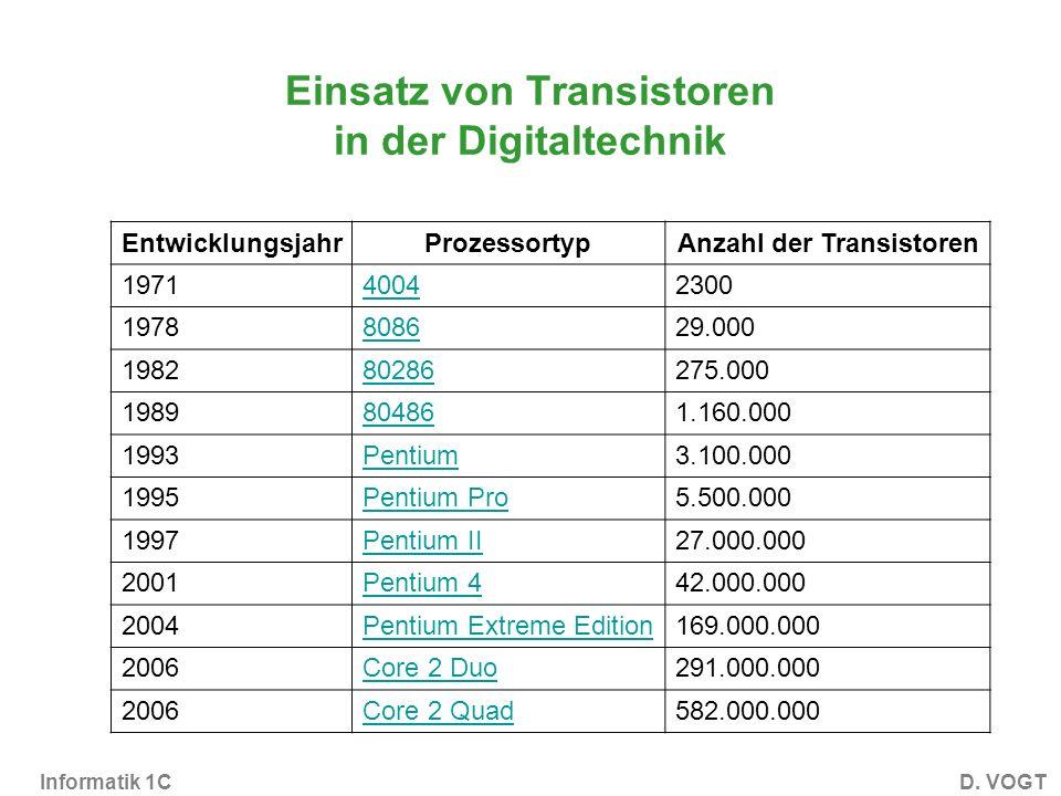 Einsatz von Transistoren in der Digitaltechnik