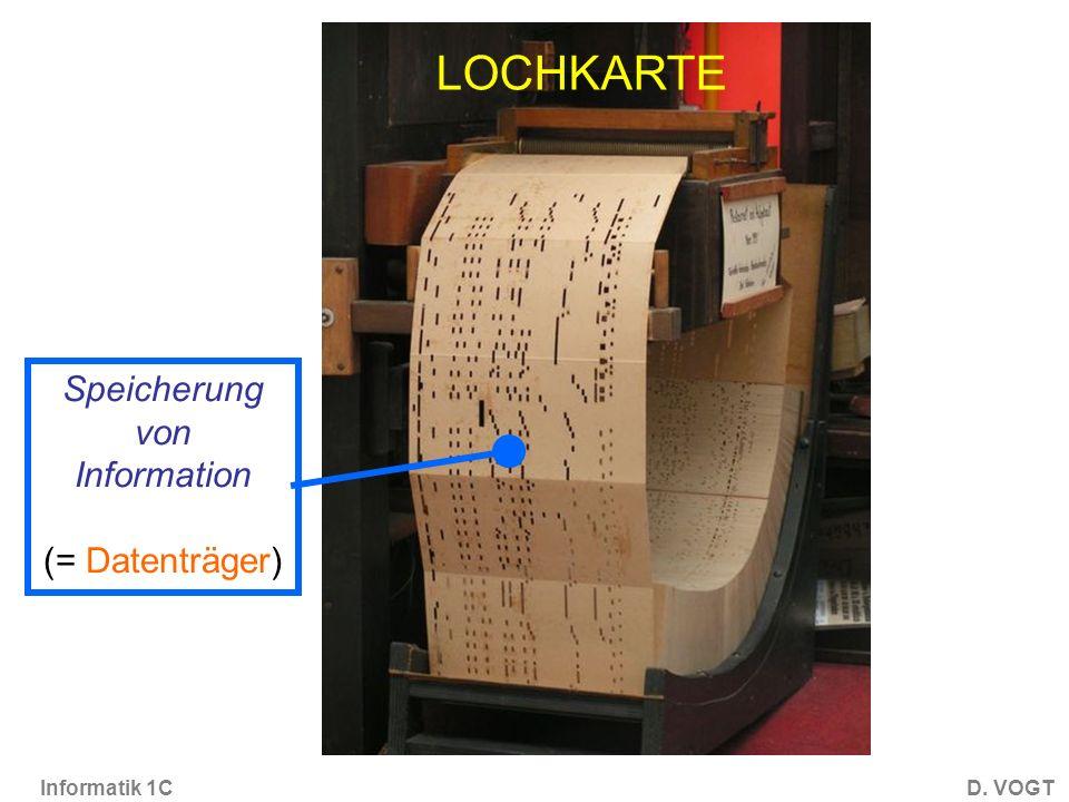 LOCHKARTE Speicherung von Information (= Datenträger)