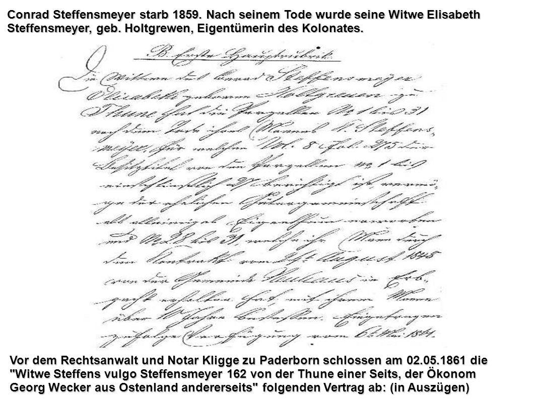 Conrad Steffensmeyer starb 1859