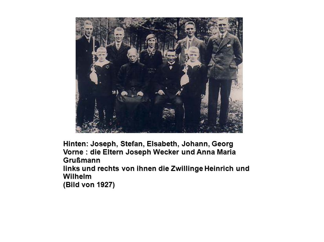 Hinten: Joseph, Stefan, Elsabeth, Johann, Georg