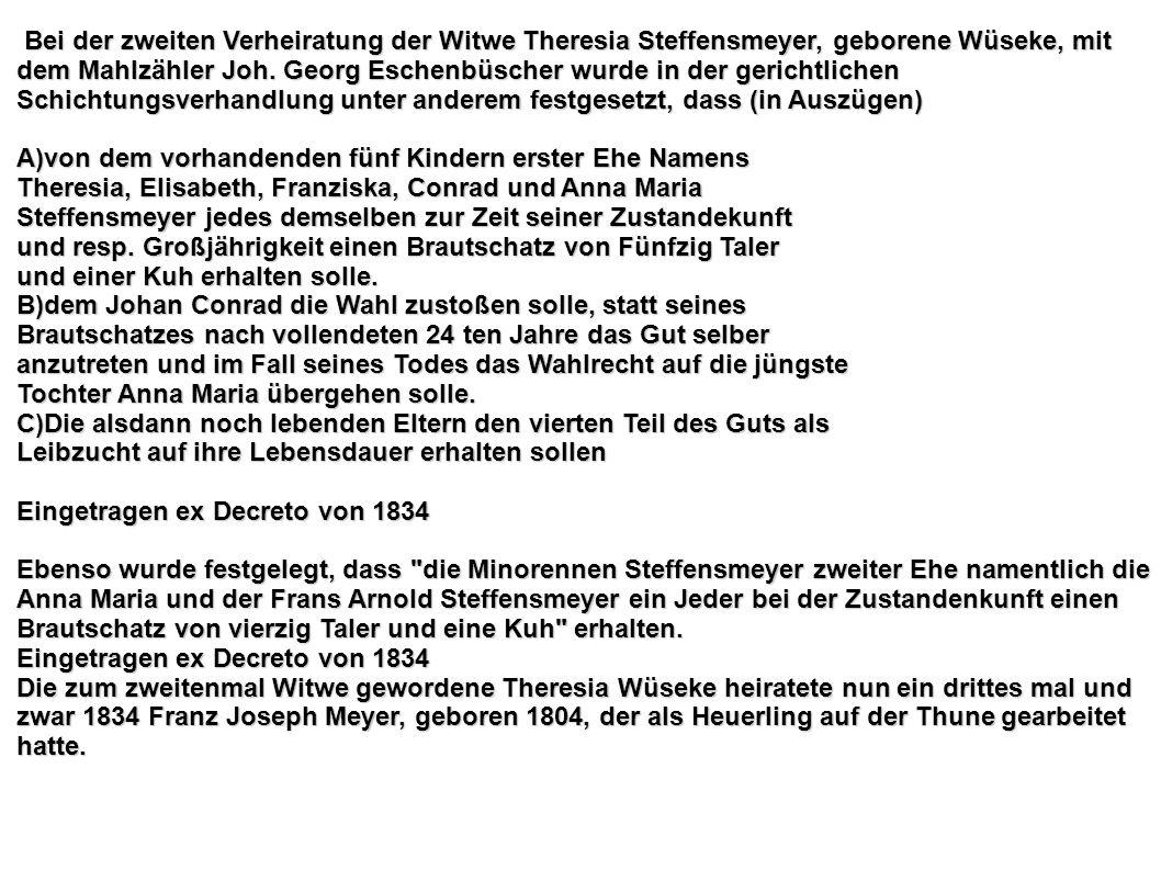 Bei der zweiten Verheiratung der Witwe Theresia Steffensmeyer, geborene Wüseke, mit dem Mahlzähler Joh. Georg Eschenbüscher wurde in der gerichtlichen Schichtungsverhandlung unter anderem festgesetzt, dass (in Auszügen)